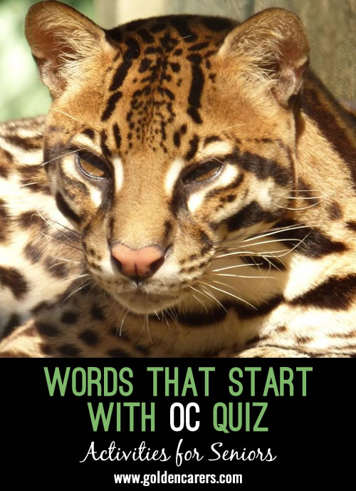All answers start with the letters: 'OC'. A fun October quiz for the elderly!