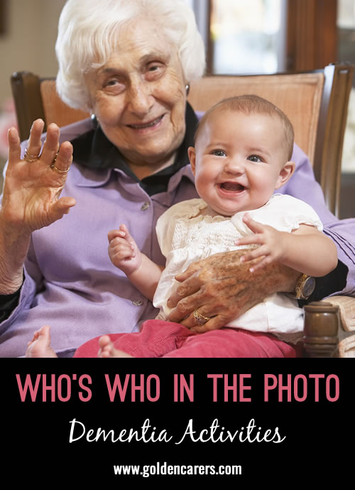 I wanted to share an activity that I did this morning with my dementia residents.I developed about 60 pictures that I have taken over the last 2 months. We all sat in a circle and I handed them a photo and they tried to recognize themselves or a person in the group.
