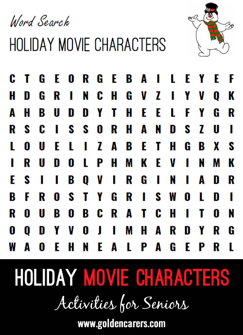 Find the movie characters in this holiday movies themed word finder!
