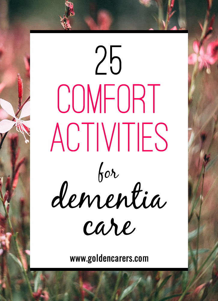 The benefits of sensory activities in dementia care cannot be underestimated. It can be as simple as taking your resident to the garden or using a diffuser with some lavender and geranium essential oils in the sitting room.
