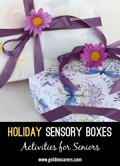 So much of the holiday season is sensory! Unlock memories and encourage relaxation by using scents, sights, and sounds of the season with any of these holiday sensory kits.