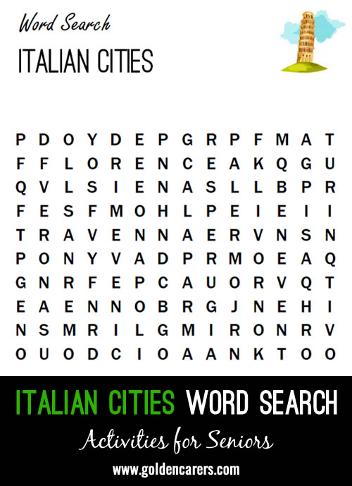 Find the Italian cities in this word search!