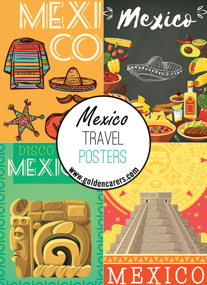 Mexico travel posters - a great way to decorate the room for a Mexican theme day!