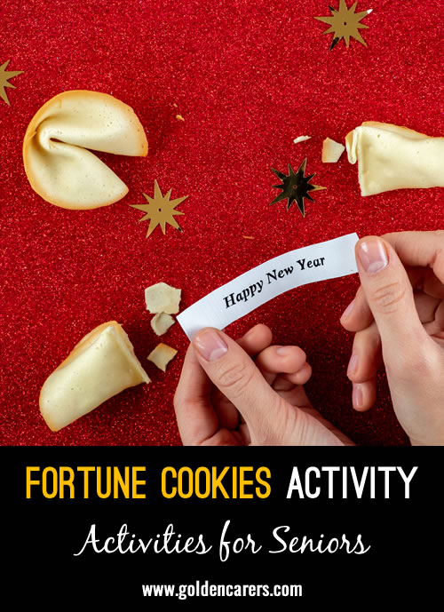 Fortune cookies are delicious and fun! Inside each one is a small piece of paper with a 'fortune' or a vague prophecy written on it. Enjoy some time together on Chinese New Year eating these tasty crisp and sugary cookies and reading out fortunes.