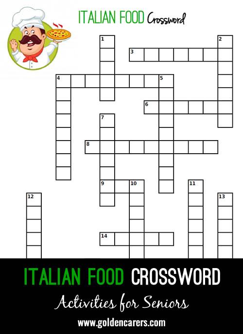 Large print Italian food themed crossword!