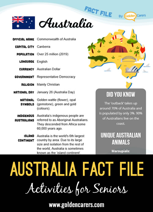 An attractive one-page fact file all about Australia. Print, distribute and discuss!