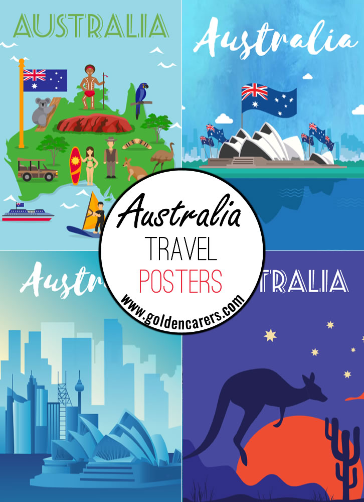 Australia travel posters - a great way to decorate the room for an Aussie theme day!