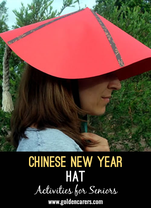Here is an easy hat you can make in an arts and crafts session to celebrate Chinese New Year.