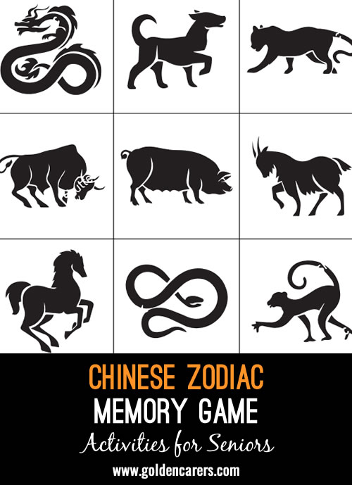 An easy matching game with 24 Chinese zodiac animal cards. A great game to challenge memory skills and improve concentration.