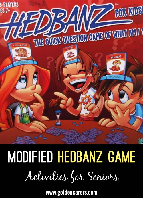 This modified Hedbanz game  gets them up moving and interacting with each other instead of sitting at a table.