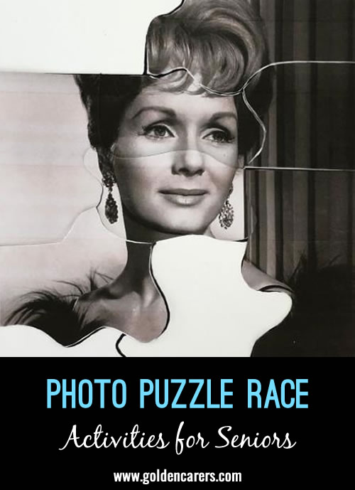 Print & laminate photos and turn them into puzzles for this fun group game!