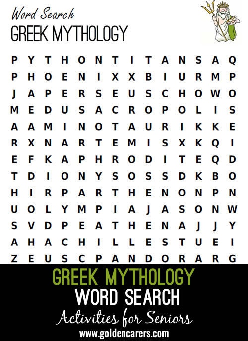 A word search featuring the mythical creatures of ancient Greece