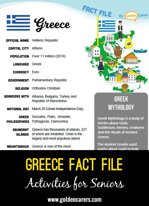 An attractive one-page fact file all about Greece. Print, distribute and discuss!