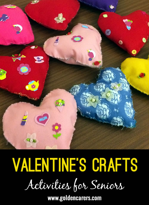 Heart cushions made with felt and cushion stuffing.