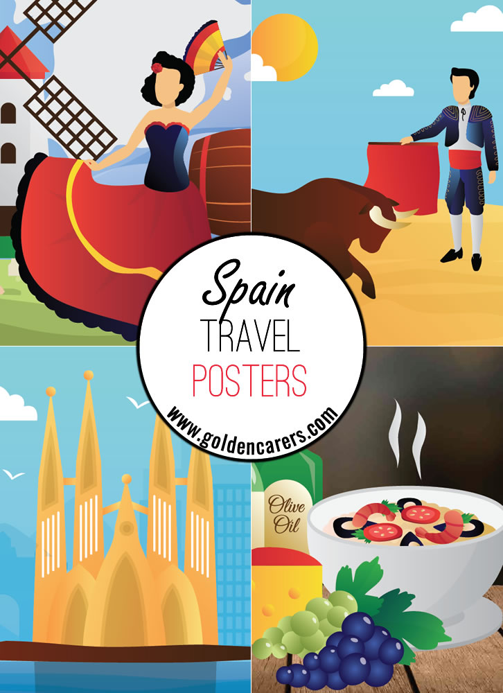 Spain travel posters - a great way to decorate the room for a Spanish theme day!