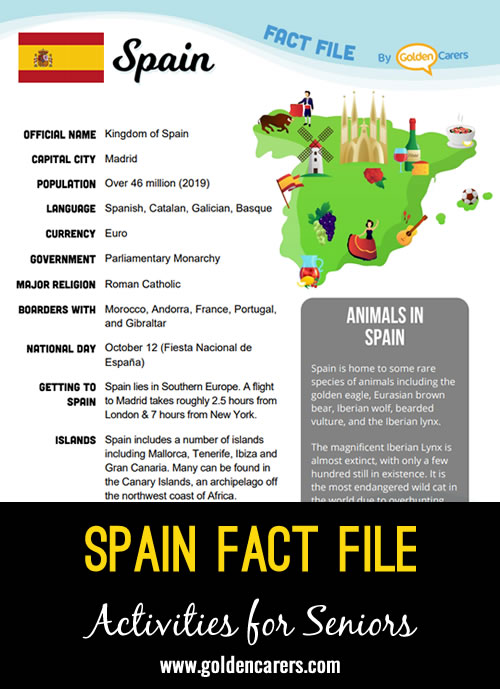 An attractive one-page fact file all about Spain. Print, distribute and discuss!