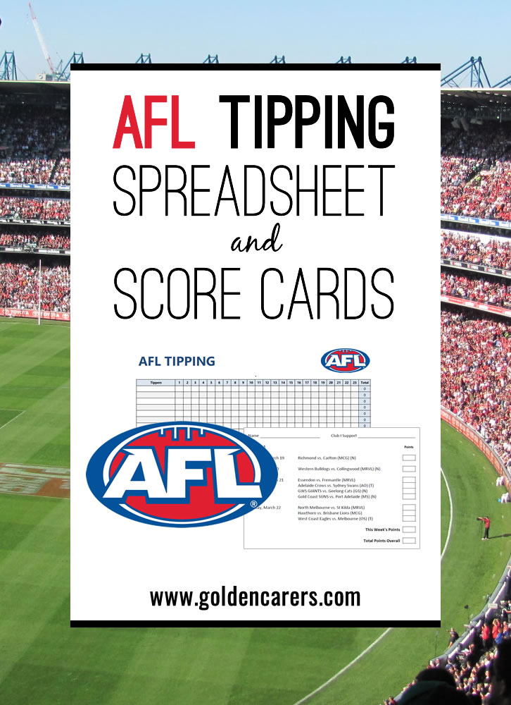 Updated for 2020! AFL Tipping spreadhsheet with formulas to automatically calculate each person's tally. Score cards for each round of fixtures included!