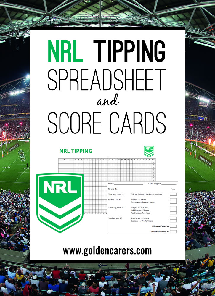 NRL Tipping spreadhsheet with formulas to automatically calculate each person's tally. Score cards for each round of fixtures included!