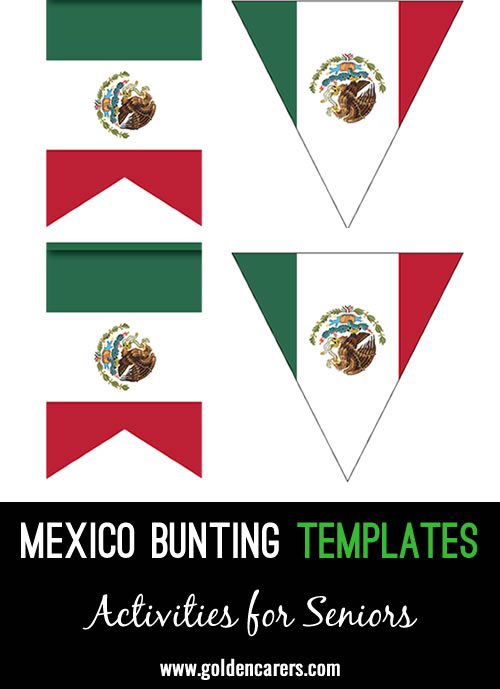 3 x bunting templates for decoration in the colors of the Mexican flag!