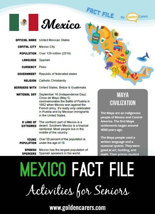 An attractive one-page fact file all about Mexico. Print, distribute and discuss!