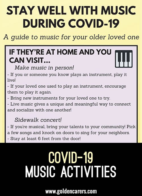 The infographic provides activity suggestions for using music with older adults for the purpose of: cognitive stimulation, reminiscence, socialization, maintaining / strengthening relationships, exercise, emotional health, and quality of life.