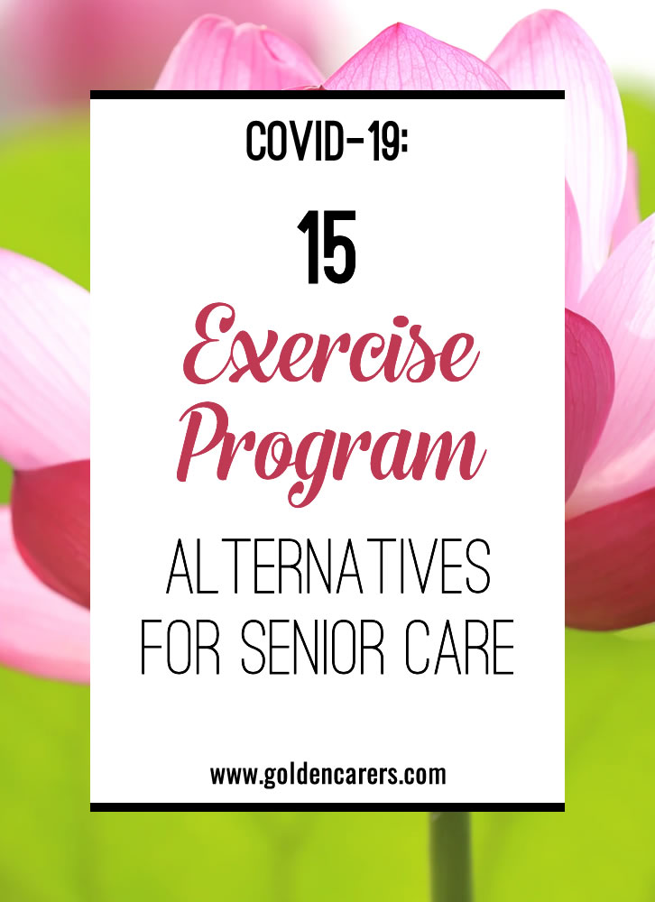 Daily exercise groups are an activity department staple, but with most communities discouraging group activities due to the COVID-19 pandemic, you may be wondering how to keep it up. Here are a few ideas to get everyone up and moving together (while separate).