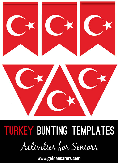 Bunting templates for decoration in the colors of the Turkish flag!