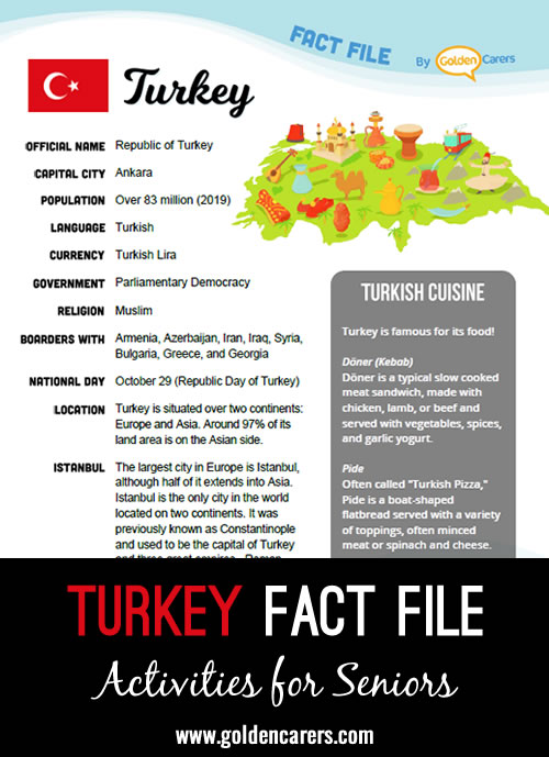 An attractive one-page fact file all about Turkey. Print, distribute and discuss!