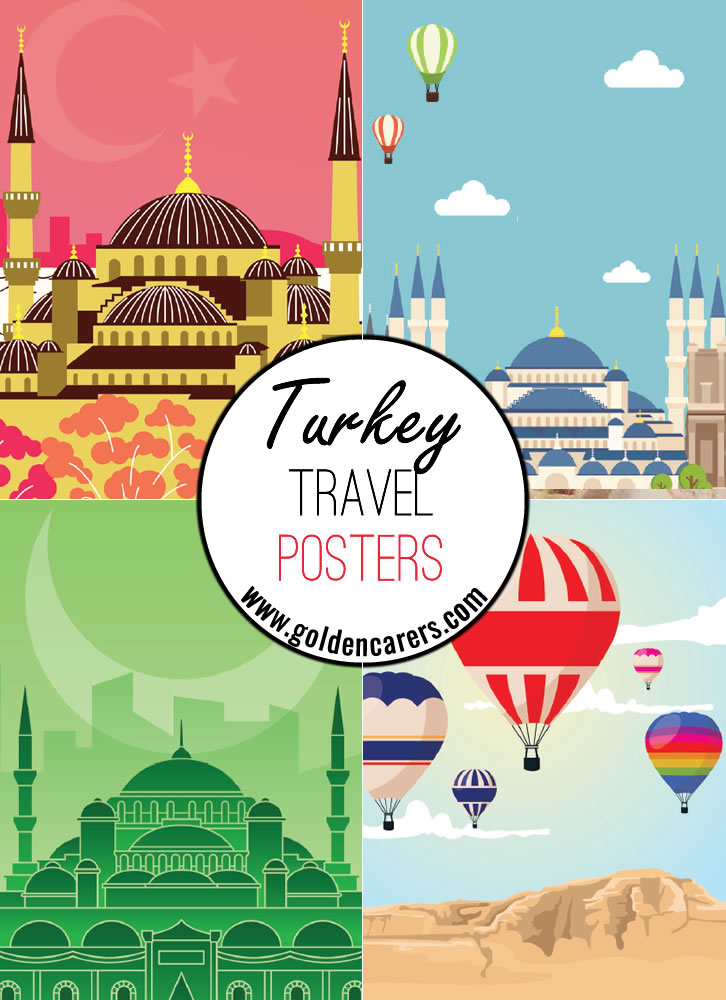 Turkey travel posters - a great way to decorate the room for a Turkish theme day!