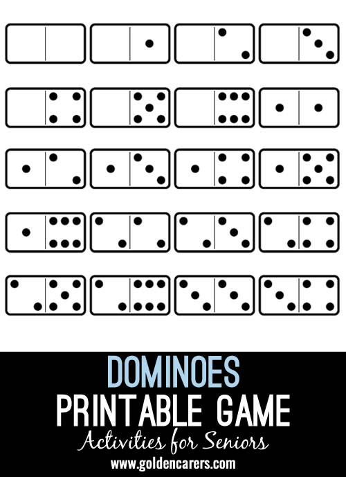 I made my own dominoes game. I laminated it, bagged it up and sent it out in my activities packs.