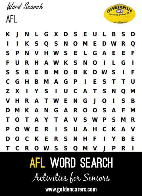 An AFL themed words search!