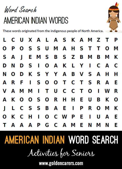 American Indian Words Word Search