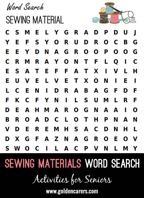 A sewing materials themed word search!
