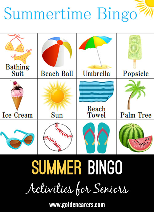 Summertime bingo with 16 cards, calling cards start on page 17. Enjoy!