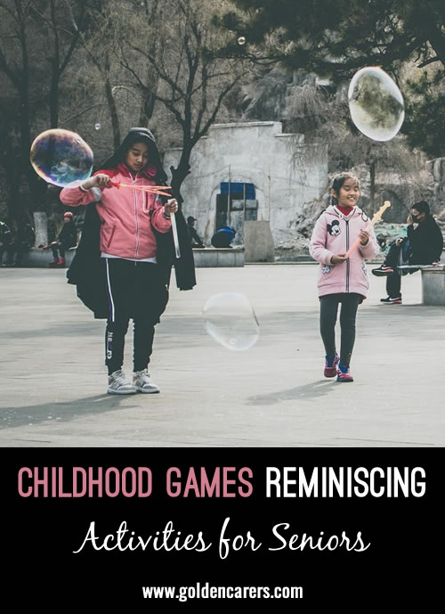 Use these questions to start a reminiscing conversation about summertime games residents may have played as children.