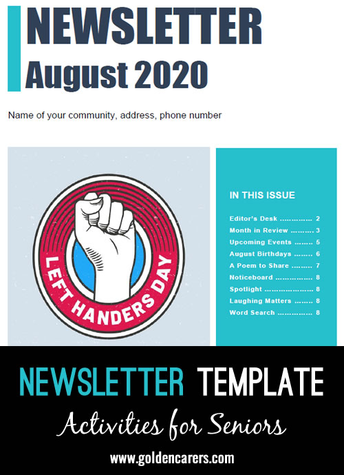 Here is a newsletter template for August 2020 in WORD format. Easy to edit and customize!