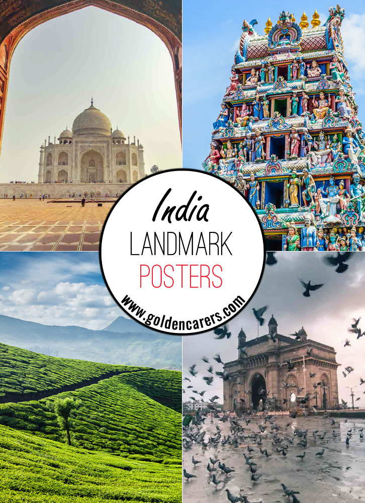 Posters of some of the amazing landmarks and monuments in India