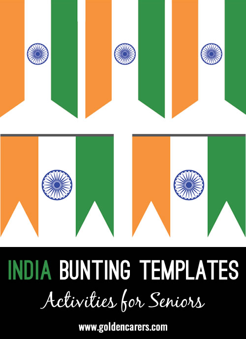 Bunting templates for decoration in the colors of the Indian flag!