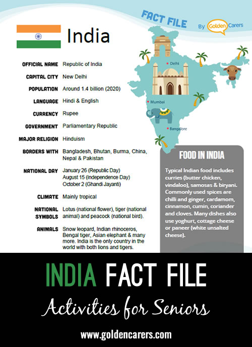 An attractive one-page fact file all about India. Print, distribute and discuss!
