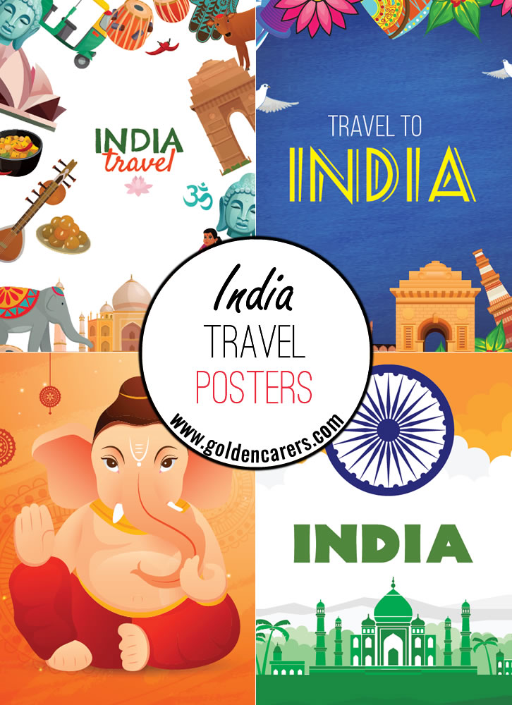 India travel posters - a great way to decorate the room for an Indian theme day!