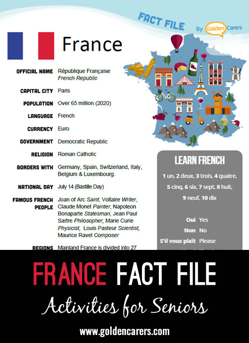 An attractive one-page fact file all about France. Print, distribute and discuss!