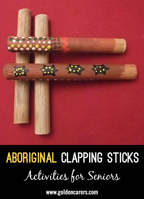 Music sticks are used to keep the rhythm in songs, dances and corroborees in ceremonial events.