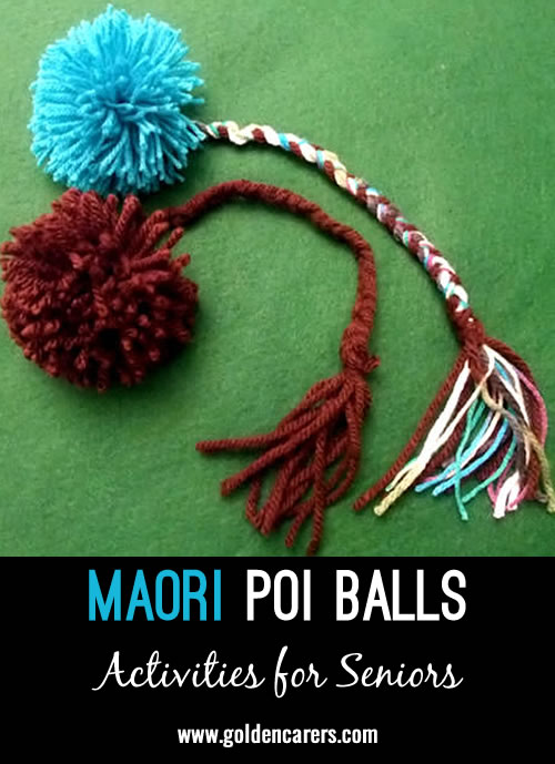 A Maori poi ball is a juggling ball originally made of woven flax. Maori dancers use them when performing to tell stories, teach and imitate natural sounds.