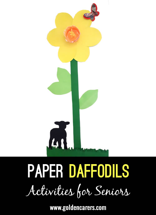 Daffodil Day activity (hospital level). We cut our giant daffodil from light weight card. 