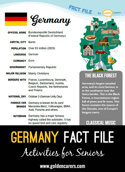 An attractive one-page fact file all about Germany. Print, distribute and discuss!