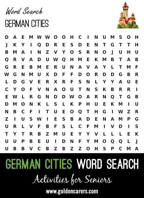 A word search featuring famous cities of Germany!