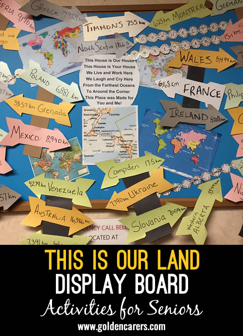 Create a board that shows the location of your care home and where residents and staff come from. On individual arrows put the country of origin and how many kilometres they are from their birth place to where they now live.
