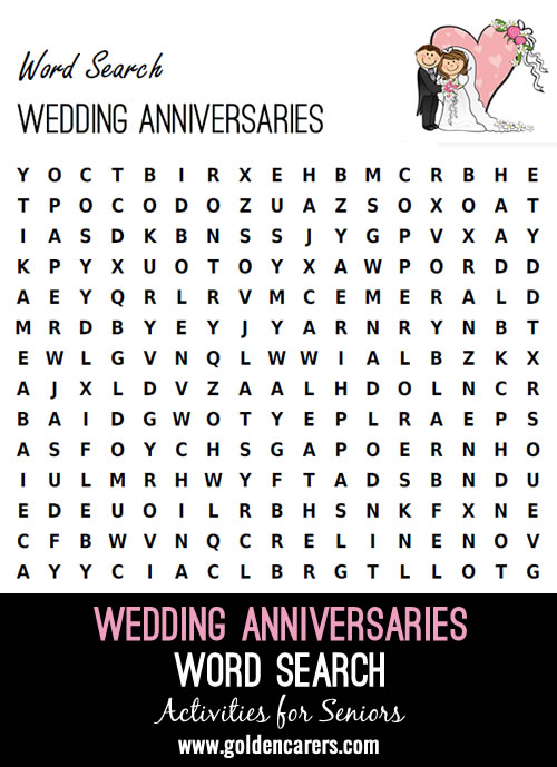 Here is a wedding anniversaries themed word search!