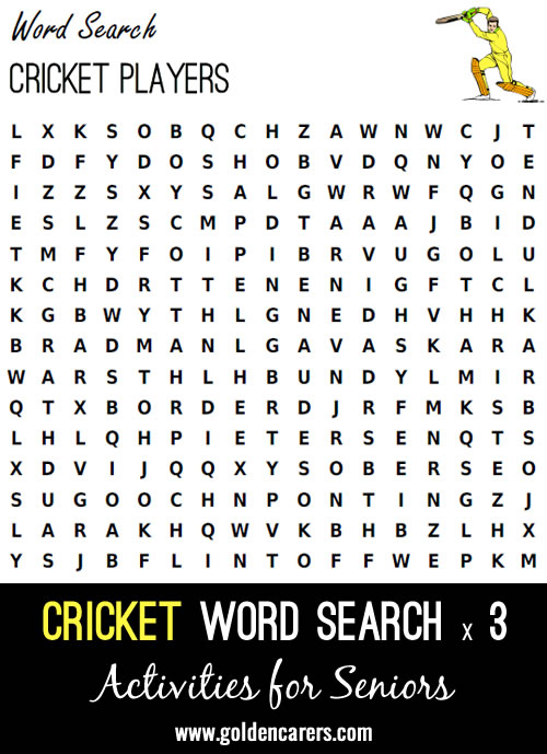 Here are 3 cricket themed word searched to enjoy!