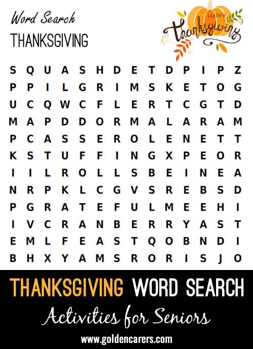 Thanksgiving Dinner Word Finder